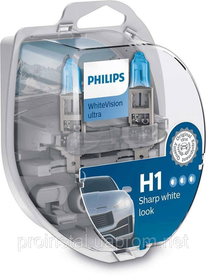 Лампа галогенна Philips H1 WhiteVision Ultra +60%, 3700K, 2шт/блістер