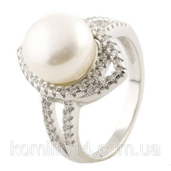 Серебряное кольцо Komilfo с натуральным жемчугом (0491400) 17.5 размер