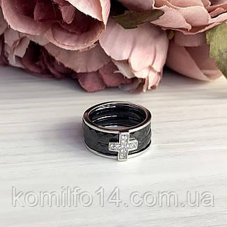Срібне кільце Komilfo з керамікою (1150306) 18 розмір, фото 2