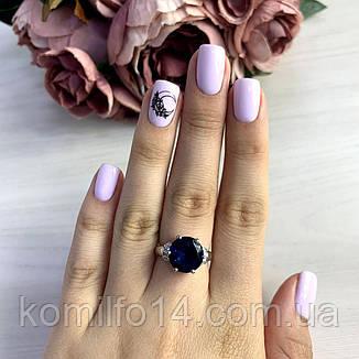 Срібне кільце Komilfo з натуральним топазом Лондон Блю 4.528 ct (1449745) 17 розмір, фото 2