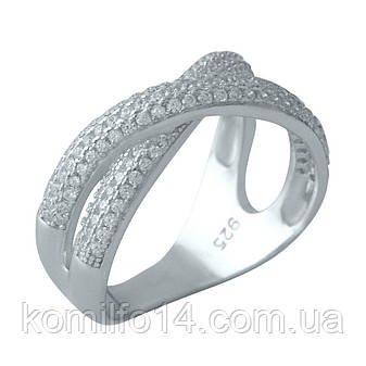 Срібне кільце Komilfo з фіанітами (2001409) 18 розмір, фото 2
