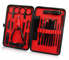 Набор для маникюра педикюра 18 инструментов профессиональный нержавеющая сталь в футляре UKC черный