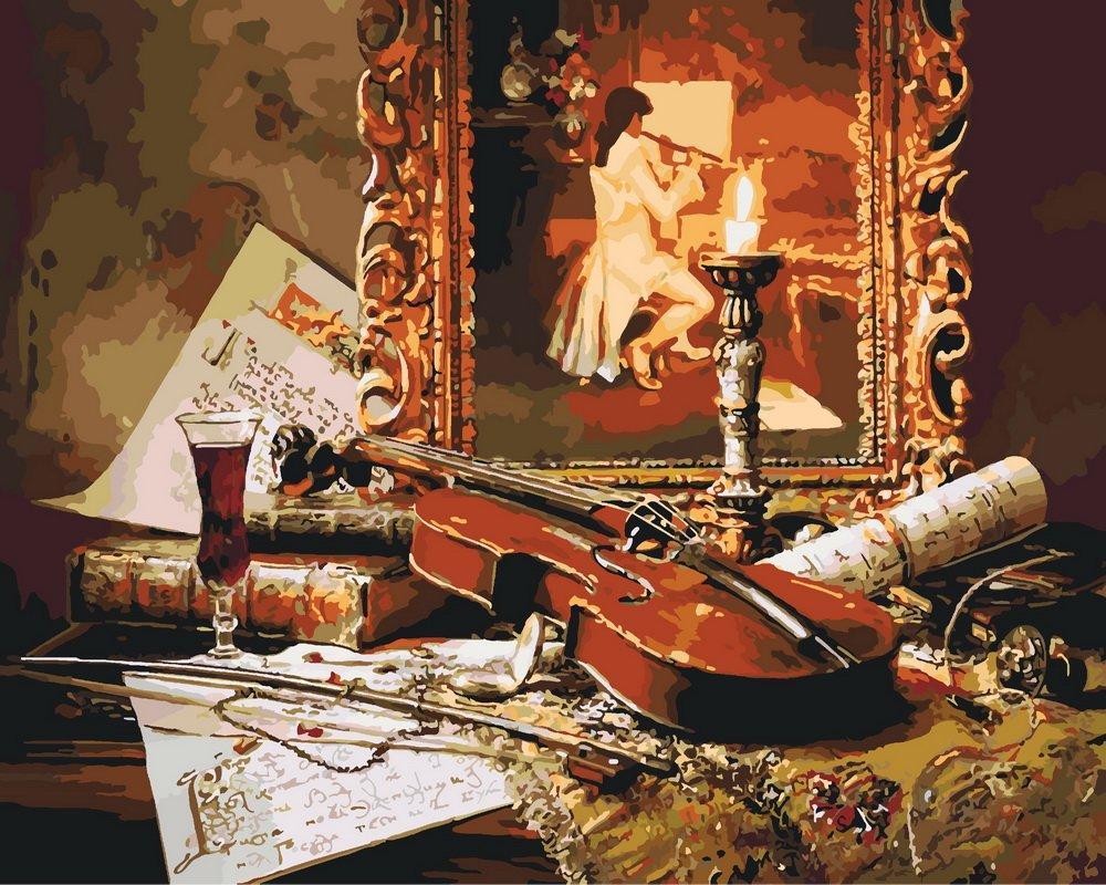 КНО2509 Раскраска по номерам Волшебная музыка скрипки, В картонной коробке