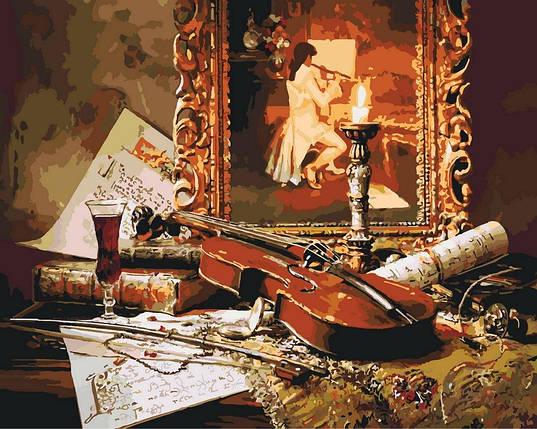 КНО2509 Раскраска по номерам Волшебная музыка скрипки, В картонной коробке, фото 2