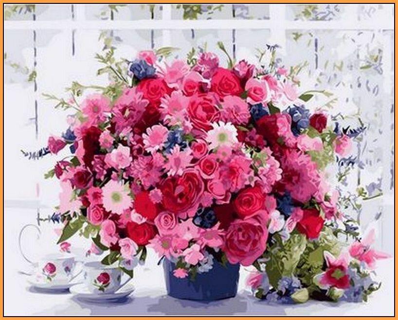 NB1233R Розовые хризантемы Набор-картина по номерам (с багетной рамкой), В картонной коробке