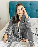 Женская пижама теплая велюровая с длинным рукавом. Теплая пижама плюшевая для дома, сна, р. S
