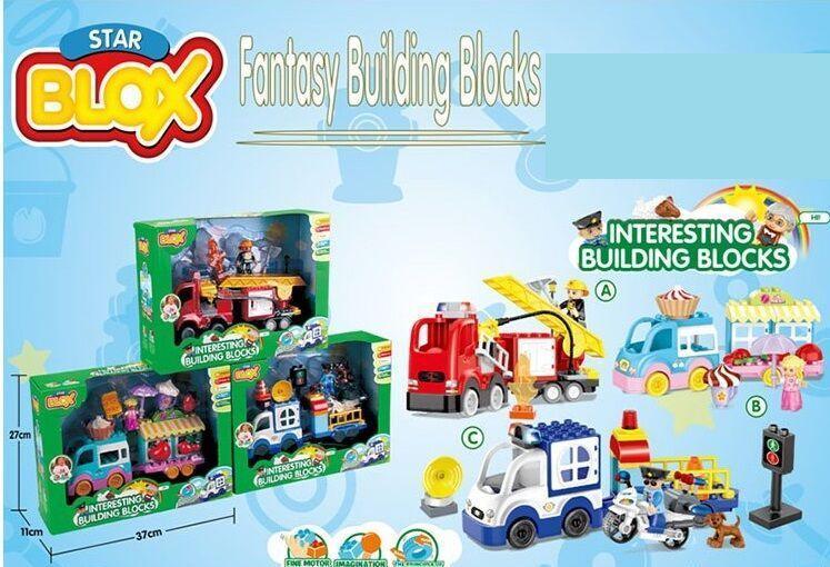 Конструктор - машинка STAR BLOKS 3 вида Полиция, Пожарная, Кондитерская машины, в коробке 3501