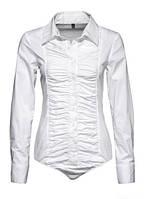 Блуза боди белая с драпировкой