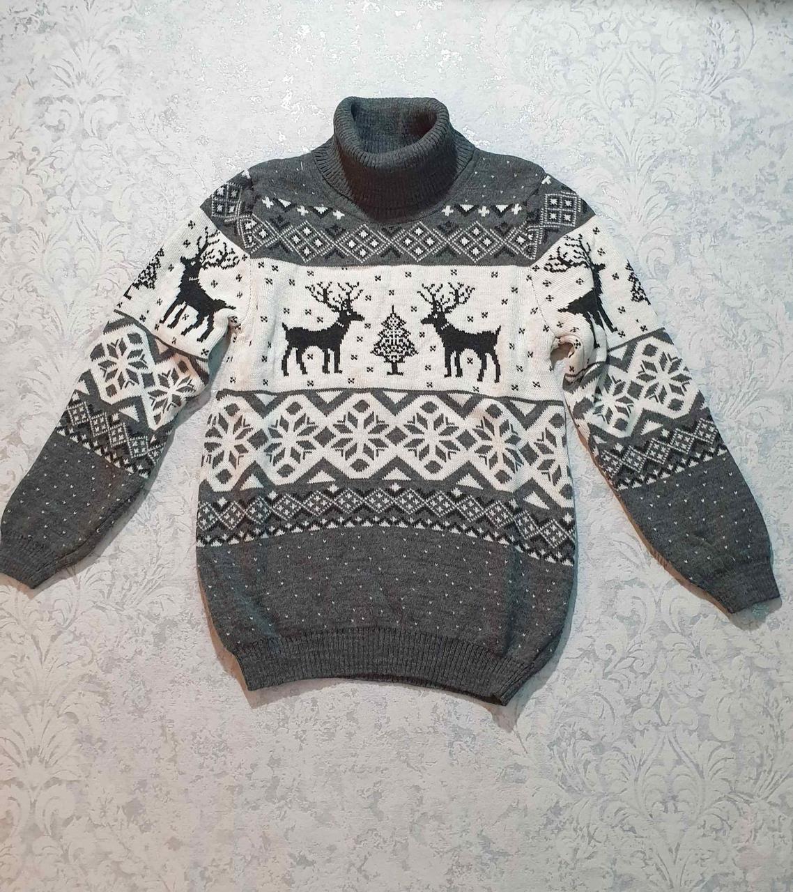 Вязаный свитер детский с оленем 116 - 146 роста CILIVILI серый