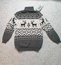 Вязаный свитер детский с оленем 116 - 146 роста CILIVILI ваниль, фото 3