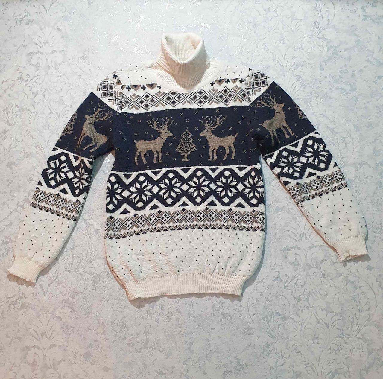 Вязаный свитер детский с оленем 116 - 146 роста CILIVILI ваниль