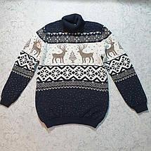 Вязаный свитер детский с оленем 116 - 146 роста CILIVILI индиго, фото 2