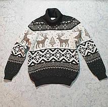 Вязаный свитер детский с оленем 116 - 146 роста CILIVILI индиго, фото 3
