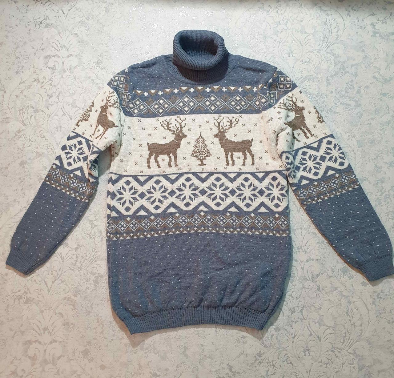 Вязаный свитер детский с оленем 116 - 146 роста CILIVILI индиго