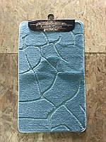 Голубой набор ковриков Турция 3Д однотонный в ванную комнату и туалет