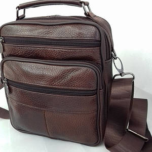 Мужская кожаная сумка-барсетка SWAN-28258 Коричневая