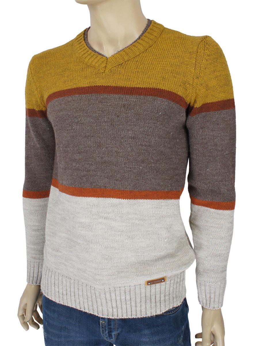 Стильный мужской вязаный свитер Forris 0510 Н с V-образным воротником