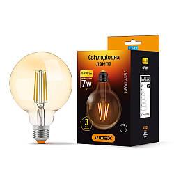 LED лампа VIDEX G95FAD 7W E27 2200K 220V бронза диммер (VL-G95FAD-07272)