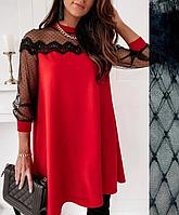 Нарядное вечернее платье-трапеция до колена в цветах красный, черный, хаки 50-52 размер