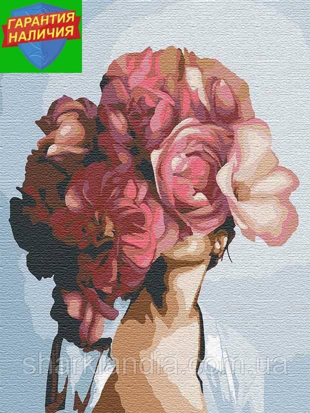 Картина по номерам Абстракция с пионами +Лак 40*50см Эми Джадд Барви Девушка и пионы