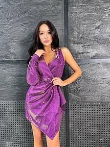 Стильное платье ассиметричного кроя с одним  рукавом 42-46 р