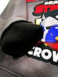 Теплый свитшот для мальчика р.128,134,140,146 в начесом SmileTime Brawl Crown, серый с красным, фото 2