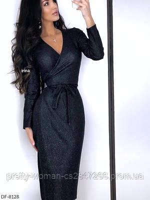 Платье на запах миди цвет черный