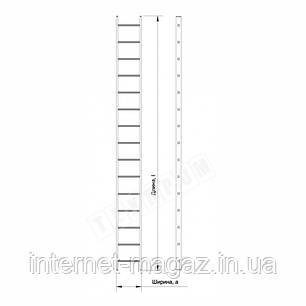 Алюминиевая односекционная приставная лестница на 15 ступеней (универсальная), фото 2