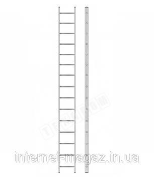 Алюминиевая односекционная приставная усиленная лестница на 15 ступеней (полупрофессиональная), фото 2