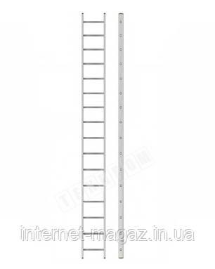 Алюминиевая односекционная приставная усиленная лестница на 16 ступеней (полупрофессиональная), фото 2