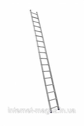 Алюминиевая односекционная приставная усиленная лестница на 17 ступеней (полупрофессиональная), фото 2