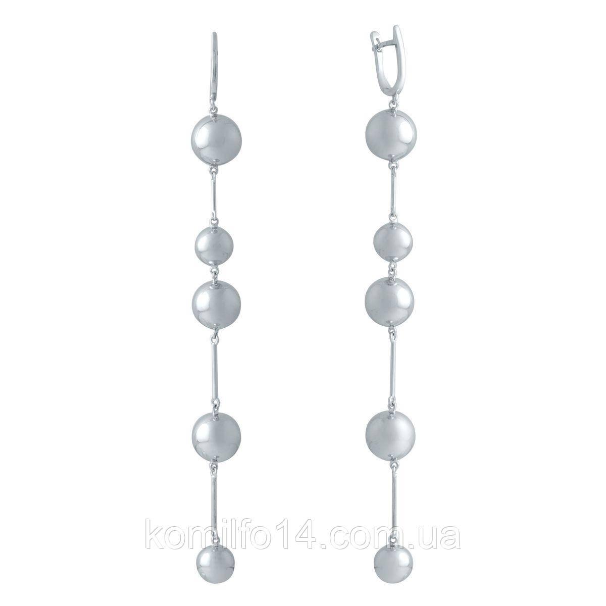 Серебряные серьги Komilfo с фианитами (2006091)