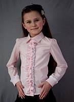 Школьная нарядная блузка розовая, фото 1