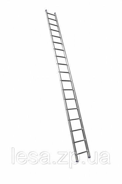 Алюминиевая односекционная приставная лестница на 18 ступеней (универсальная)