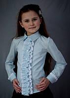Школьная нарядная блузка мод.2050  с вертикальными рюшами, фото 1