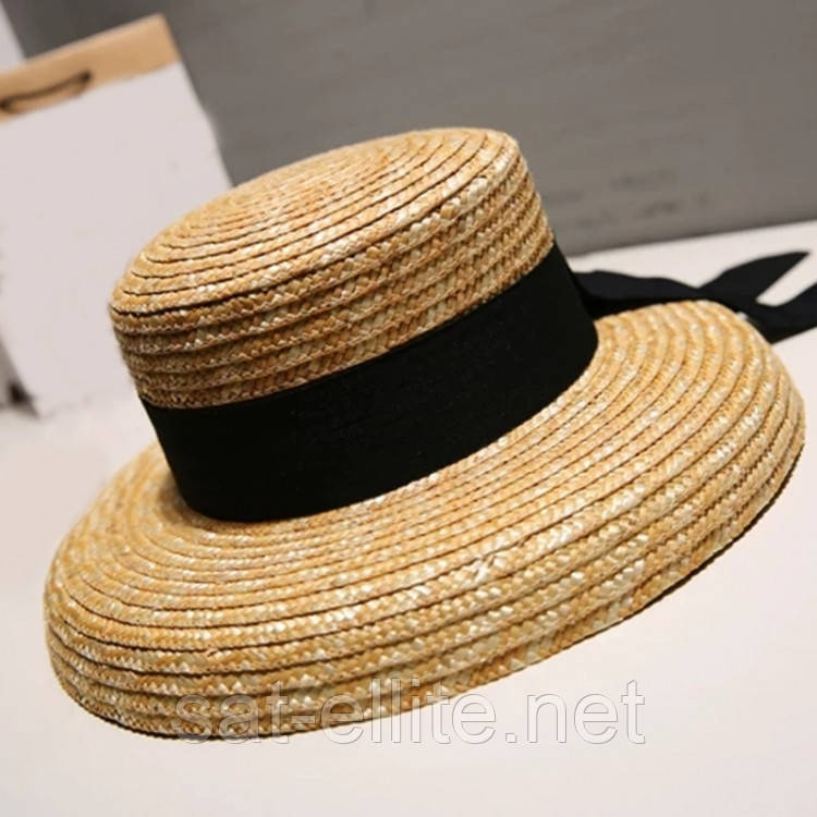 Соломенная шляпа с широкими полями и лентой (Черный)