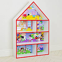 Домик стеллаж полка для игрушек и книг PLK-B-7r Свинка Пеппа бело-красный