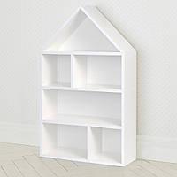 Домик стеллаж полка для игрушек и книг PLK-L-1 белый