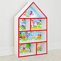 Домик стеллаж полка для игрушек и книг PLK-L-6r Смешарики бело-красный