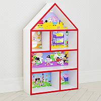 Домик стеллаж полка для игрушек и книг PLK-L-7r Свинка Пеппа бело-красный