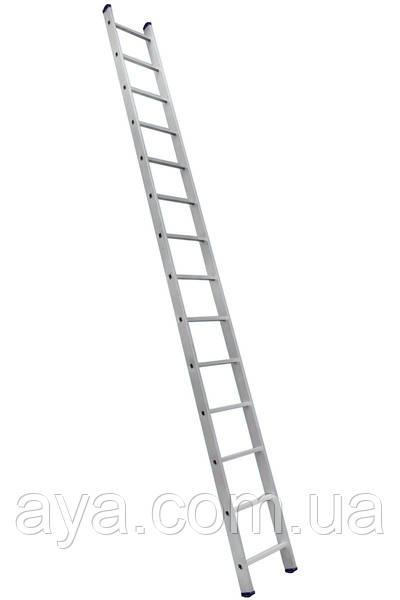 Алюминиевая односекционная приставная лестница на 14 ступеней (универсальная)