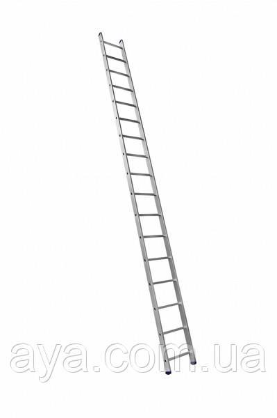 Алюмінієва односекційна приставна драбина на 17 сходинок (універсальна)