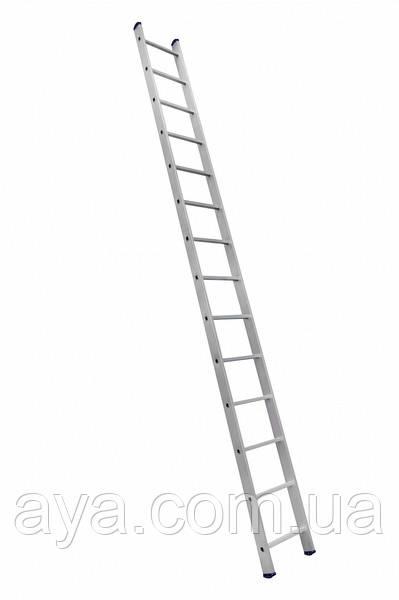 Алюминиевая односекционная приставная усиленная лестница на 14 ступеней (полупрофессиональная)