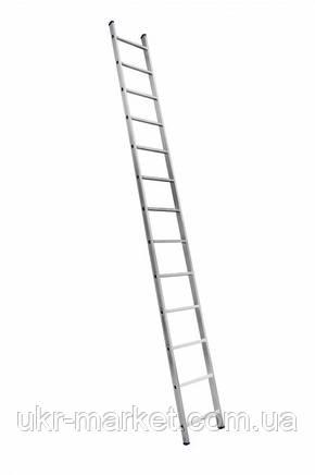 Алюминиевая односекционная приставная усиленная лестница на 13 ступеней (полупрофессиональная), фото 2