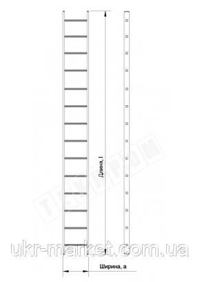Алюмінієва драбина приставна на 14 сходинок (професійна), фото 2
