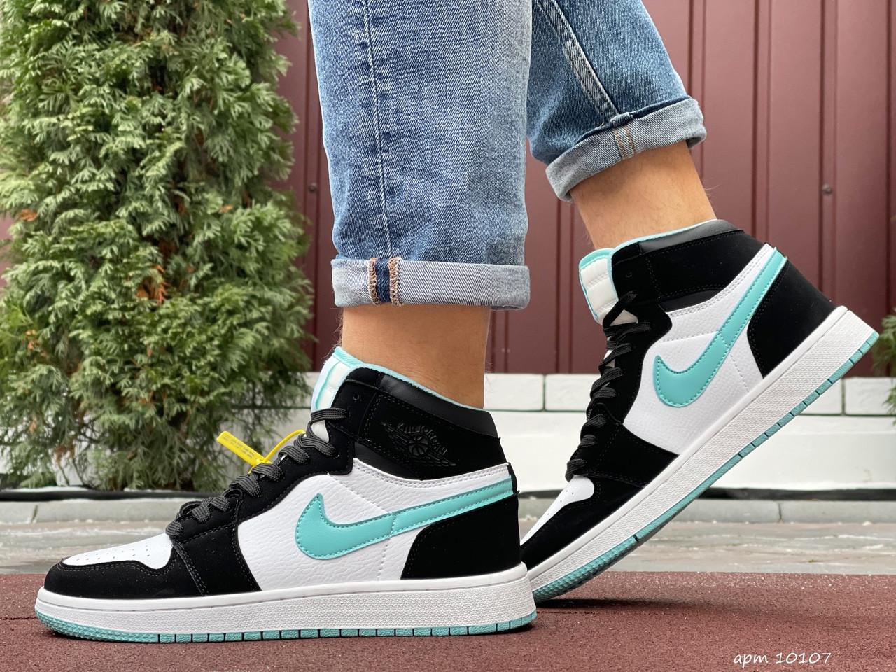 Мужские кроссовки Nike Air Jordan 1 Retro (бело-мятные) 10107