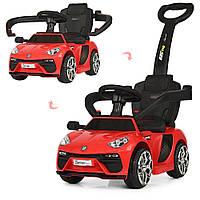 Детская каталка-толокар машина электромобиль 2 в 1 Lamborghini M 3591L-3 красная с родительской ручкой