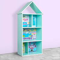 Домик-стеллаж-полка для игрушек и книг H 2020-1-1 мятный единорог