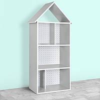 Домик-стеллаж-полка для игрушек и книг H 2020-12-1 серый Сердечки