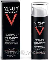 Увлажняющий тонизирующий крем для лица и контура глаз Vichy Homme Hydra Mag C+ Anti-Fatigue Hydrating Care